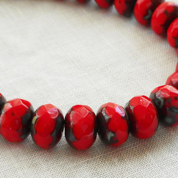 Lot of 30 6 x 9mm Czech opaque bright red picasso faceted puffy rondelle beads, Czech glass rondelles 80201