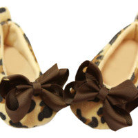 Brown Bow Embellished Cheetah Crib Shoes