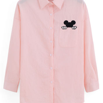 Pink Mickey Mouse Embroidered Pocket Long Sleeve Blouse