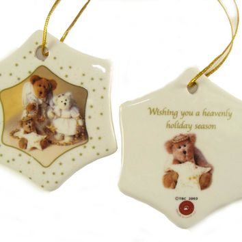 """Club Pack of 192 Porcelain Boyds Holiday Bears Christmas Ornaments 3"""""""