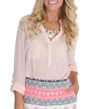 Stamped Print Shorts Apricot