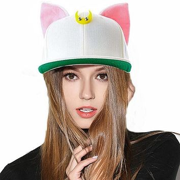 Cute Kawaii Womens Bones Snapbacks Hip Hop Cap Street Casual Baseball Caps Lovely Cat Ears Elf Female Sailor Moon Hats