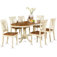 7 Piece  Wood Dining Set Light Colors