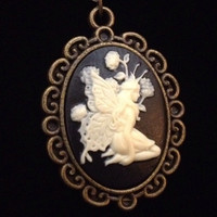 Butterfly fairy bronze resin cameo necklace