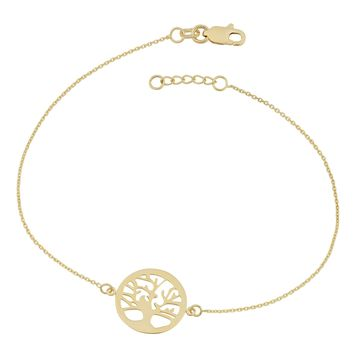 14k Yellow Gold Tree Of Life Adjustable Womens Bracelet, 7.5""