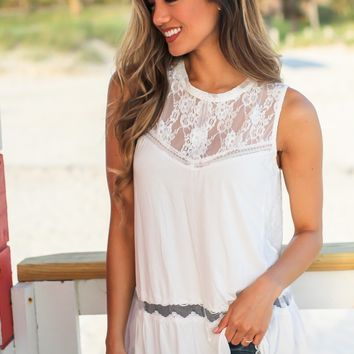 Ivory Babydoll Top with Lace Detail