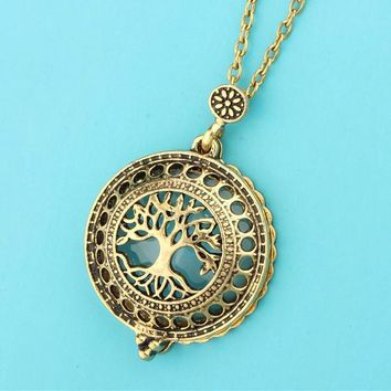 Vintage Magnet Magnifier Lockets Charm Hollow Life Tree Flower Pendant Long Necklaces Women Mother Costume Jewelry Gift