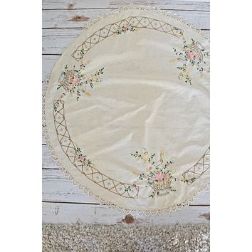 Vintage Handmade  Floral Embroidered Table Topper