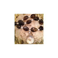 Smoky Quartz, Textured Cultured Pearls, Sterling Silver, Necklace with  Mabe Pearl Pendant One of a Kind