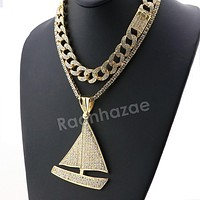Hip Hop Iced Out Quavo LIL YACHTY Miami Cuban Choker Tennis Chain Necklace L33