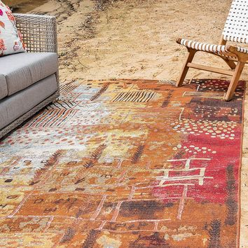 7141 Brown Abstract Outdoor Contemporary Area Rugs