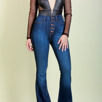 High Waist Button Down Bell Bottom Jeans