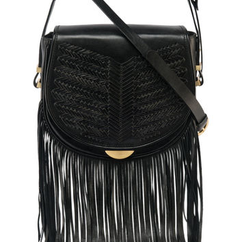 Sancia Babylon bar bag with fringe in black