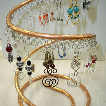 Spiral Copper Earring tree Holder, organizer, about 50 pairs, Silver wire