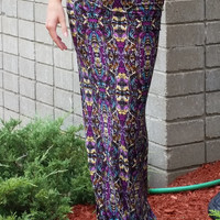 Purple Tribal Floral Maxi Skirt