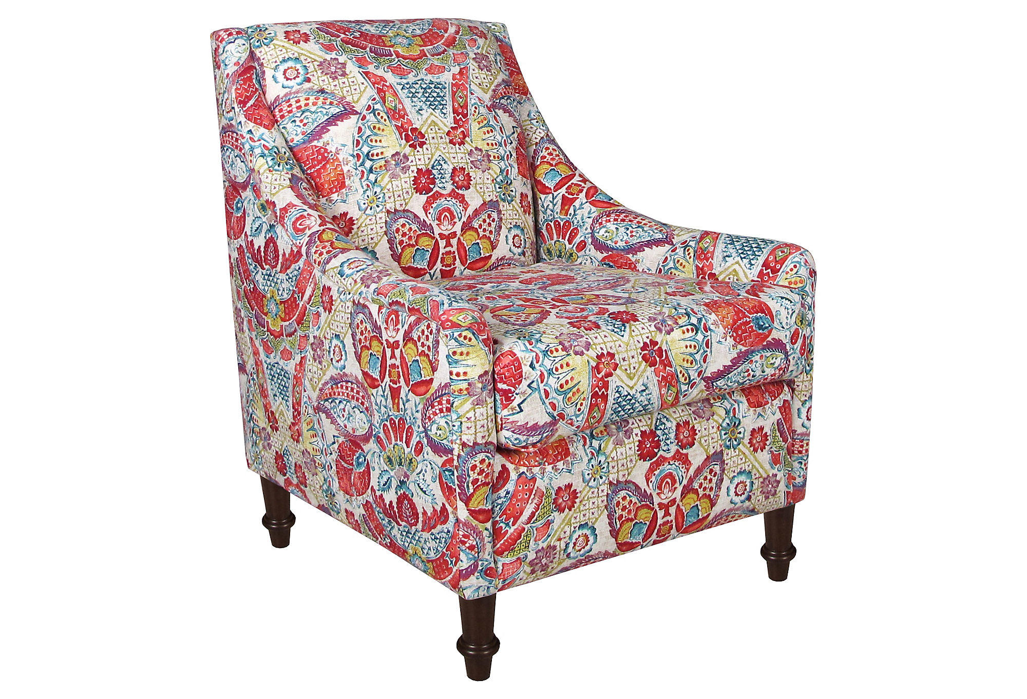 Holmes Swoop Arm Chair Red Multi Floral From One Kings Lane