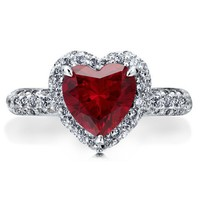 Sterling Silver 925 Heart Ruby Cubic Zirconia CZ Halo Solitaire Ring #r475