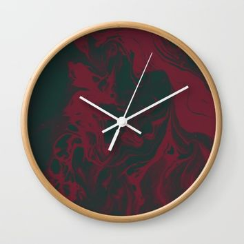 Cranberry and Evergreen Wall Clock by DuckyB