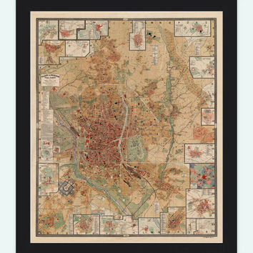Old Map of Madrid 1902 , Spain Espana antique map