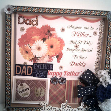 Happy FATHERS DAY From DAUGHTER Picture Frame Shadow Box Office Decoration Gift for Dad Gift Card Holder Football Placemat