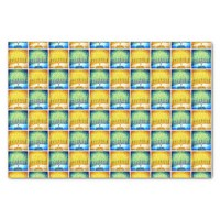Fun Yellow & Blue Hanukkah Menorahs Pattern Photo Tissue Paper