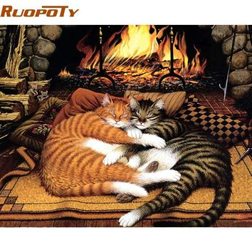 RUOPOTY Frame Sleep Cat DIY Painting By Numbers Modern Wall Art Canvas Painting Hand Painted Unique Gift For Home Wall Artwork