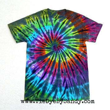 Adult Small Tie Dye Shirt Inverted Rainbow Spiral