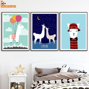 COLORFULBOY Alpaca Balloon Starry Wall Art Print Canvas Painting Nordic Poster Pop Art Animal Wall Pictures For Kids Room Decor
