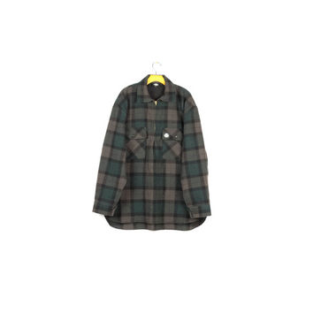 SWANNDRI ranger shirt / 100% wool flannel / workwear / bush shirt / green tartan plaid / hunting jacket / outdoors / grunge / mens XL
