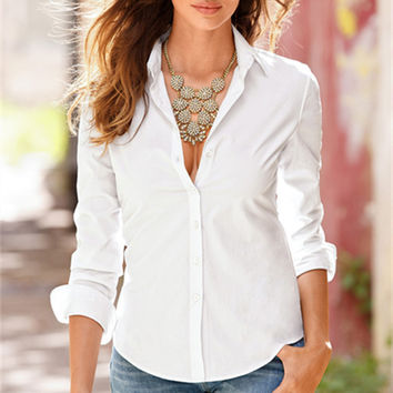 Vintage White Casual Long Sleeve Women Blouses