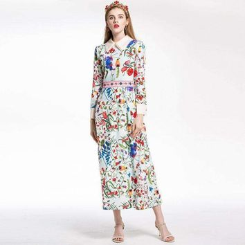 Womens Butterfly Lapel Long-Sleeve Ankle-Length Beach Print Maxi Long Dress