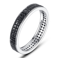 Sterling Silver Eternity Ring W. Double Row Micro Pave Black Cubic Zirconia
