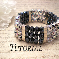 Tutorial Swarovski Crystal Two Toned Sterling Silver Cuff Bangle Bracelet PDF