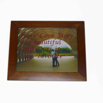 Love Story Frame- every love story, ours is my favorite, custom picture frame, vinyl quote frame, engagement frame, personalized frame