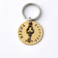 Small pet id tags brass with key charm, small dogs, small cats, x-small pets
