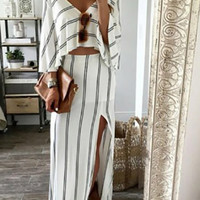 Streetstyle  Casual Sexy Deep V Neck Open Back Stripped Dress
