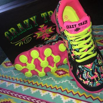 Crazy Train Tribal running shoes, running shoes, decked out, crazy train, train, running tenny shoes, shoes, colorful running shoes, shoes, athletic shoes, tribal running shoes, tribal shoes, Aztec tribal shoes, Aztec running shoes, Aztec tenny shoes, sho