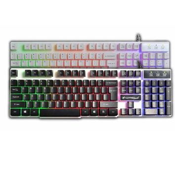 USB Wired Illuminated Colorful LED Backlight Multimedia PC Gaming Keyboard For Mac For PC Standard Keyboard For CS Gamer #202