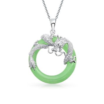Dragon Round Circle Disc Green Jade Pendant Sterling Silver Necklace