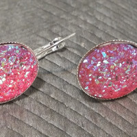 Druzy earrings-  ab hot pink drusy silver tone dangle druzy earrings
