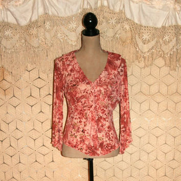 Rose Pink Top Floral Top Hippie Boho Top Romantic Blouse Floral Blouse Ruffle Blouse Fitted Blouse Hippie Boho Clothing Large Women Clothing