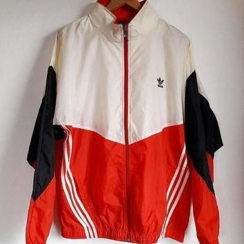 ON SALE 30% Vintage 1990s Adidas Trefoil Sportswear Hip Hop Windbreaker Hoodie Jacket