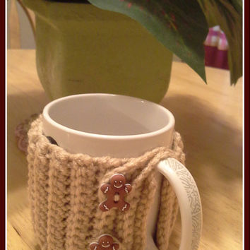 Gingerbread Man Crochet Mug Cozy