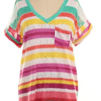 Magenta Striped Sublimation Pocket Tee