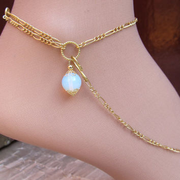 ANKLET Smokey White Opal Opalite Gold Filled Ankle Bracelet Wear with or without the Removable Toe Ring and Chain all Adjustable