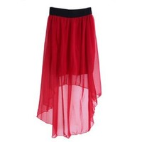 HDE Women's Double Layer Sheer Overlay High Low Asymmetrical Skirt (Candy Red)