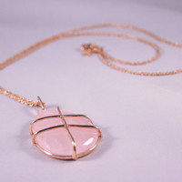 Pink & Gold Long Stone Pendant Necklace