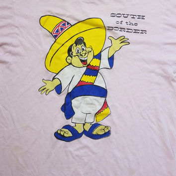 80s Vintage T Shirt South of The Border Pink Tee