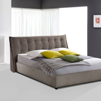 Ashton Low Profile Eastern King Bed in Mist Grey Two-Tone Fabric