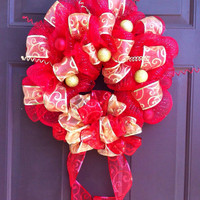 Christmas Wreath Deco Mesh for Front Door Holiday Decoration